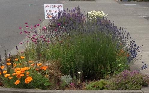 garden by Don Nisbett Art Gallery with art night sign