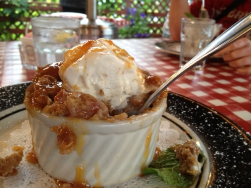 peach cobbler for us; Debbie chose ice cream