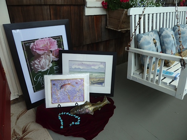on the porch: raffle items for those who purchase a Water Music Festival membership