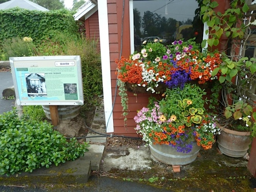 containers and windowboxes by Nancy of The Basket Case Greenhouse, and the new railroad history sign