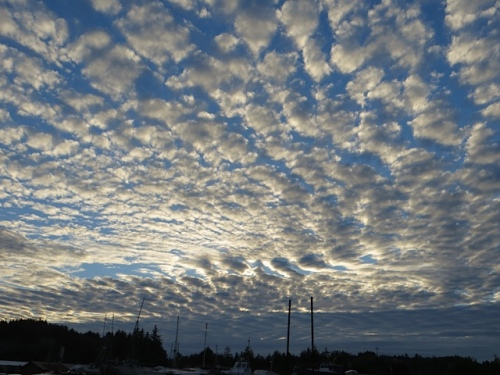 The sky was amazing, here looking north over the boat storage yard and very full parking lots.