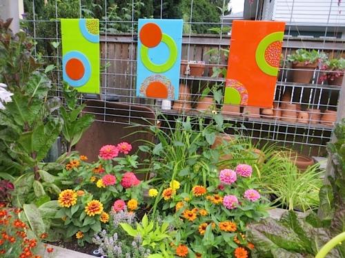 bright zinnias and marigolds