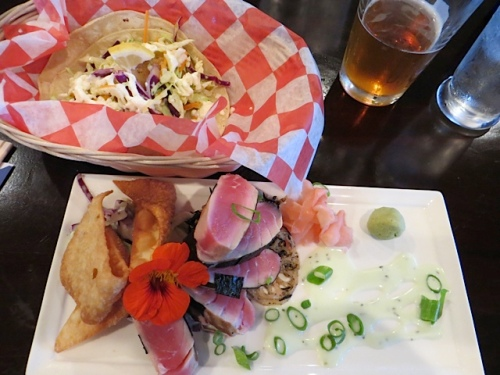 ahi tuna, a fish taco and a Vortex beer went down a treat.