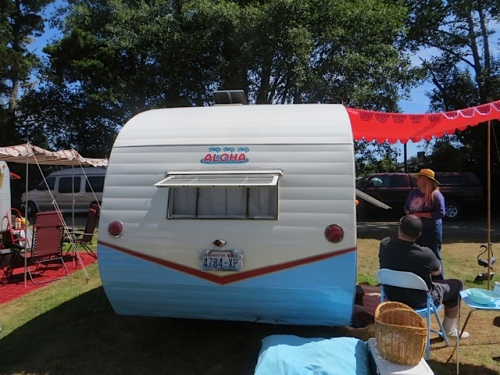 Here's Wilma, Wendy and Del's vintage trailier; they looked long and hard to find this treasure.