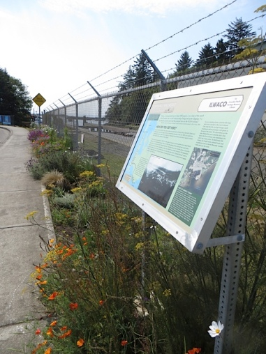 south end of boatyard garden, with Clamshell Railroad historic sign