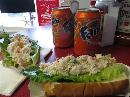 delicious cool and refreshing crab rolls at Captain Bob's Chowder.