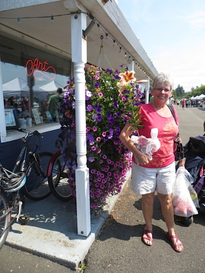 Bonnie, an Olde Towne regular, had just bought a potted lily.