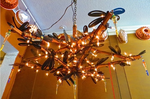at NIVA green, an outdoor chandelier by Heather