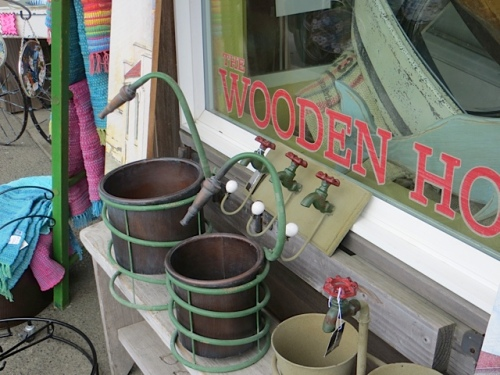cute pots outside The Wooden Horse gift shop