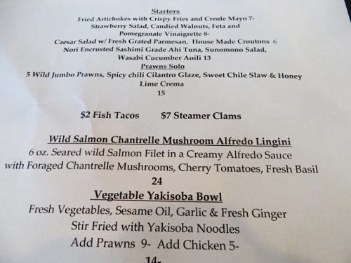 You can see my ahi tuna on there, plus a vegetable bowl that would be so good for our vegan friend, Patt.