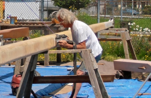 Owner Steve working on the past.  He's planning to sail south before winter.