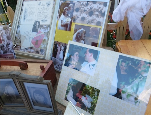 By the guest book were photos of Maddie and Jacob's family's weddings