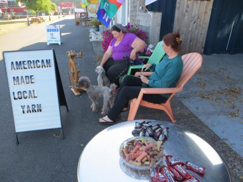 Purly Shell fiber arts shop set up a spinning display with their two little dogs in attendance.