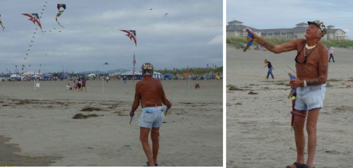 Here he is in 2009 flying a kite with each hand and one off his hip.