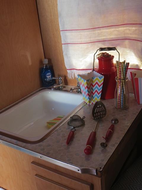 sink with vintage kitchenware