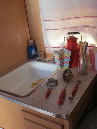 sink with vintage kitchenware