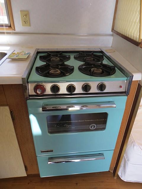 turquoise stove