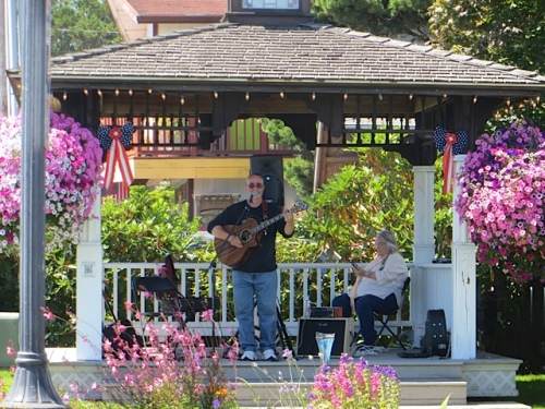 While I watered, a Summerfest musician entertained me (and all passersby); he was good.