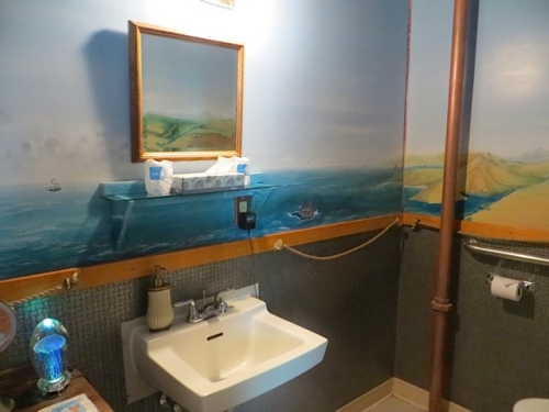 the Jules Verne bathroom....This and Mark Twain's are the two spacious bathrooms of the hotel.
