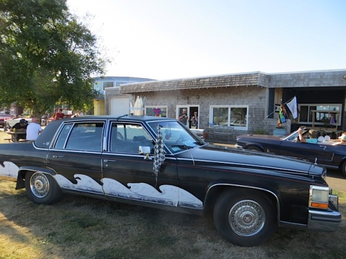 Jenna did not run her Queen La De Da caddy in the race this year; she did park it, as did some other fancy car owners, for all to admire.