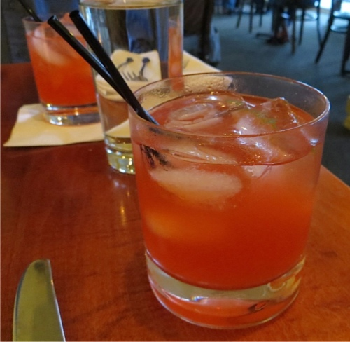 Flamenco!  Tequila, campari, lime simple syrup and lime juice