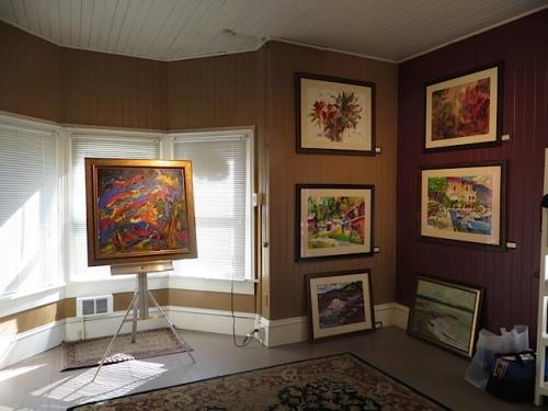 inside the gallery, front bay window