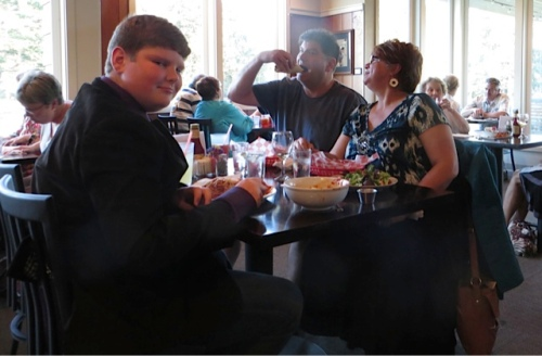 At the table right next to us sat our friends Don Nisbett and Jenna (Queen La De Da) and their son Joe.