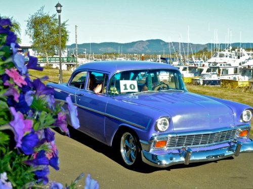 Allan's photo; I so much wanted to get this purple car with the petunias but lacked the patience to wait for it to come around again.