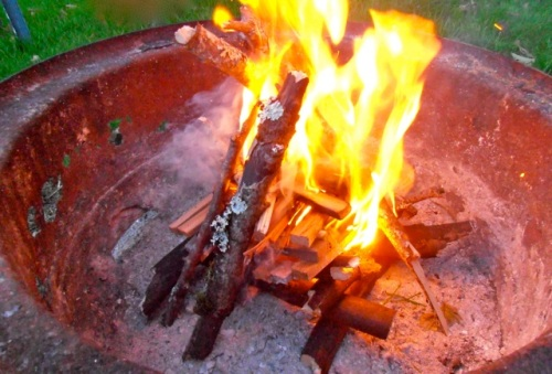"Allan's photo:  ""NO paper, NO starters, just cedar and a lighter"""