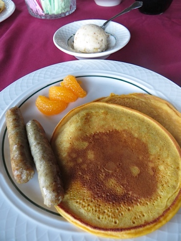 pumpkin pancakes with a spiced butter for breakfast...along with pastries, juice, fruit.