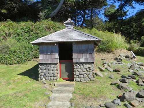 behind the house, the old well house