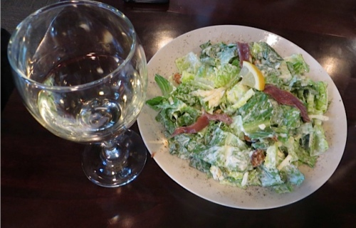 caesar salad and a nice glass of white wine