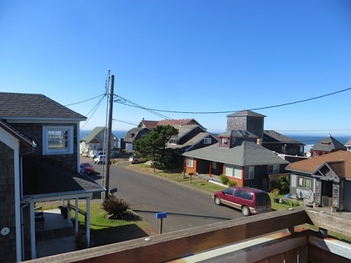 view from the back door; the red roof is the Sylvia Beach Hotel.