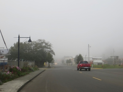 from the boatyard, looking north: fog rolling in down First Avenue