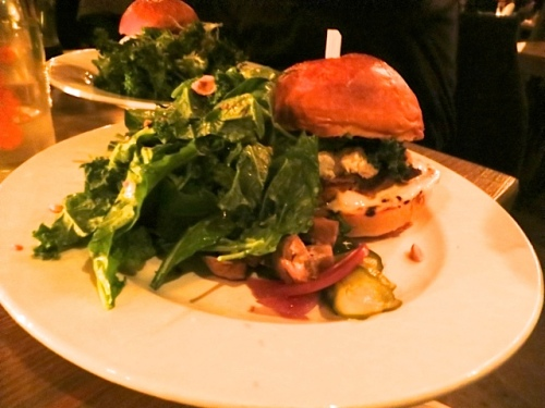 burgers for me and Allan (his was vegetarian white bean) with lots of greens