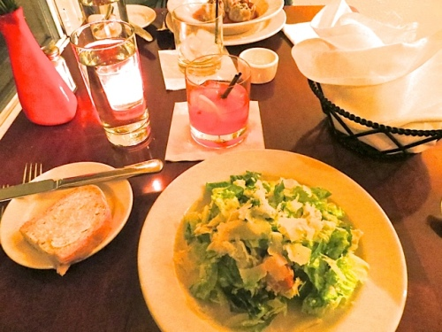 Caesar salad and cocktail of the month (The Flamenco)