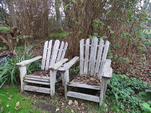 The two old firewood-holding chairs showed that no campfire would be had unless more branches fall.