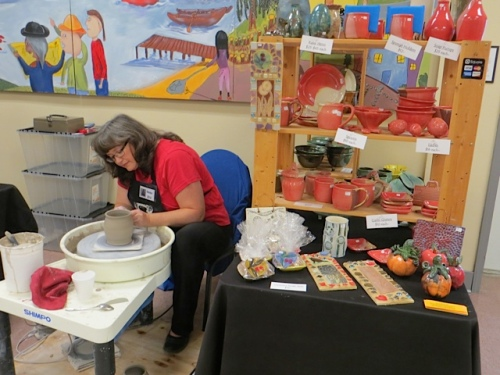 Karen Brownlee at her pottery wheel