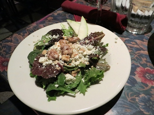 Allan's house salad with candies walnuts and blue cheese