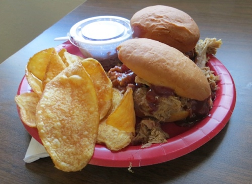 Kathleen's pulled pork sandwich with cranberry BBQ sauce