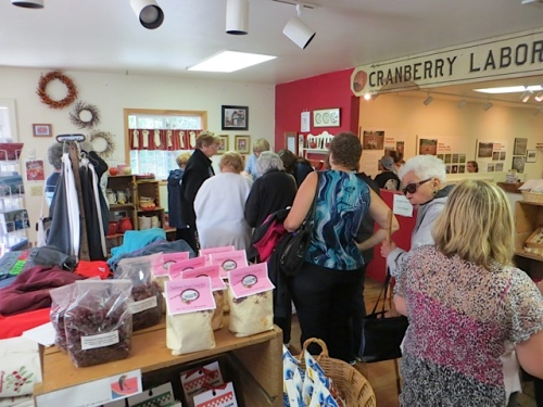 a busy scene in the gift shop