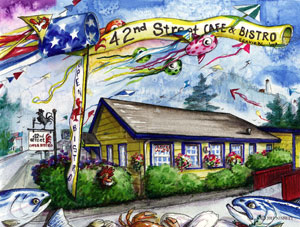 a darling drawing of the Café by our friend Don Nisbett