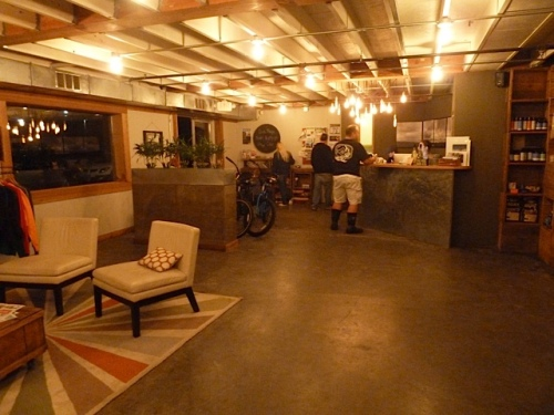 The lobby of the eco-hip hotel