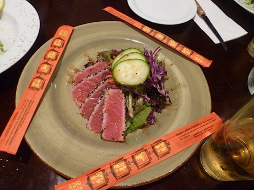 Chef Jason Lancaster sent us this delectable plate of ahi tuna!