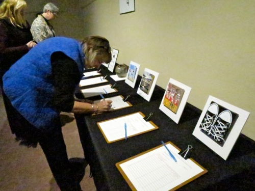 Allan's photo:  There is a silent auction with four tables of art.