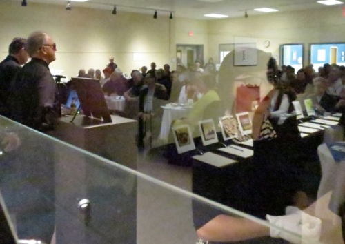 through the live auction display case (Allan's photo)