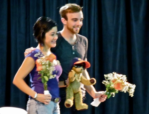 Allan's photo of the actors receiving flowers after the play.