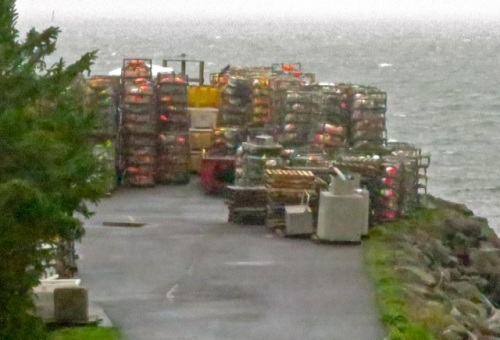 crab pots stacked at Ilwaco Landing