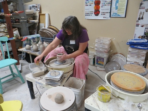 Karen was busy at her potter's wheel