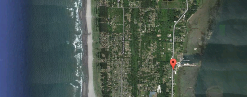 The arrow shows Nahcotta, on the Willapa Bay side of the Long Beach Peninsula.